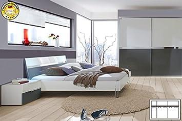 Komplett Schlafzimmer 355727 weiß grau Hochglanz neu: Amazon.de ...