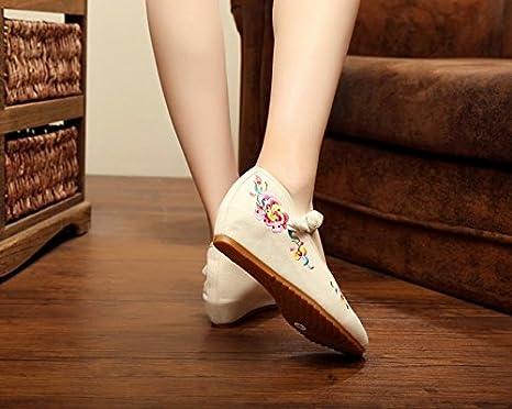 DESY pattini ricamati, biancheria, unico tendine, stile etnico, scarpe femminili, di moda, comodo , red , 40