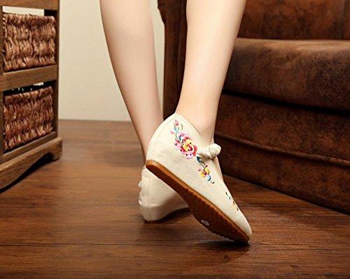 femminili Ballerine unico ricamate tendine singole etnico scarpe di pattini scarpe Scarpe biancheria beige moda stile di Scarpe ricamati donna Chnuo comodo 1wqS0an