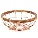 Creative Home Deluxe Acacia Wood and Wire Fruit Basket with Copper Finish, NA