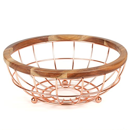 Creative Home Deluxe Acacia Wood and Wire Fruit Basket with Copper Finish, NA (Creative Fruit Baskets)