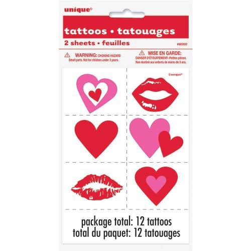 Lips & Hearts Valentine's Day Temporary Tattoos, 12ct -