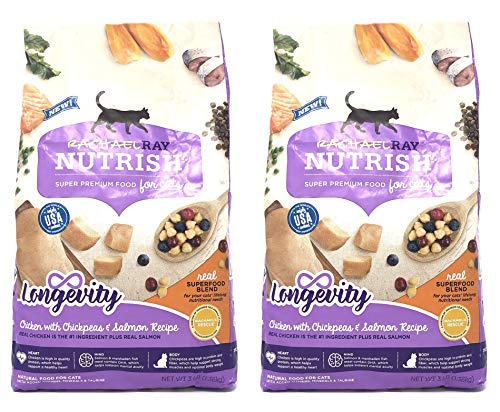Rachael Ray Nutrish Longevity Natural Dry Cat Food, Chicken with Chickpeas & Salmon Recipe, 3 lbs (Pack of 2)