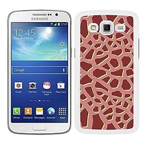 Funda carcasa para Samsung Galaxy Grand 2 diseño ilustración estampado jirafa granate borde blanco