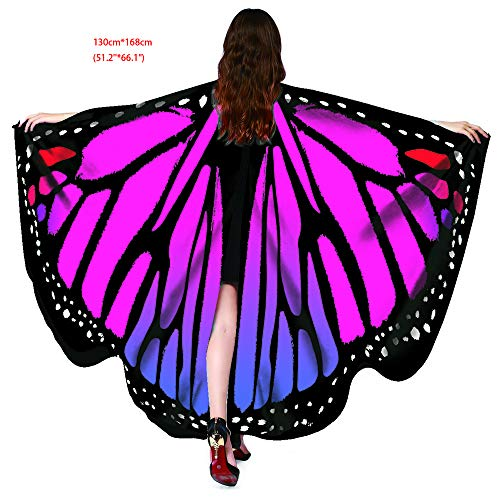 Halloween Party Soft Fabric Butterfly Wings Shawl Fairy Ladies Nymph Pixie Costume Accessory (Butterfly Rose)