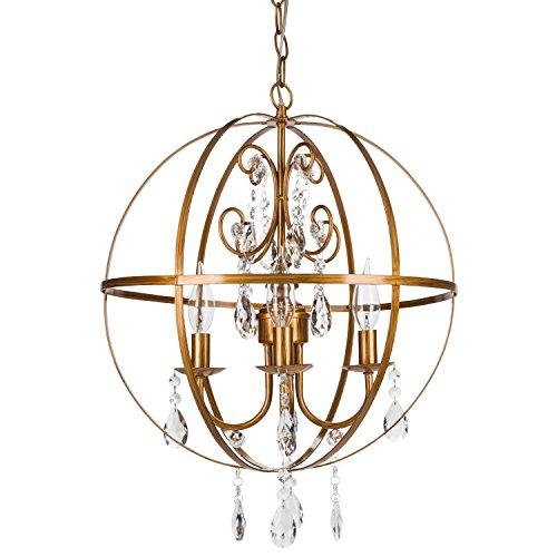 Luna Vintage Gold Orb Crystal Chandelier, Metal Round Sphere Swag Plug-In 4 Light Globe Pendant Ceiling Lighting Fixture Lamp