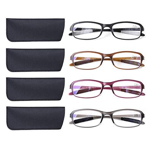 DOOViC 4 Pack Computer Reading Glasses Blue Light Blocking Anti Eyestrain Flexible Lightweight Readers for Women Men 2.0 Strength ()