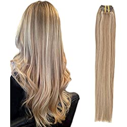 Komifa Remy Hair Extension Clip in Hair Extension Human Hair, Double Weft, Soft Natural Real Hair 100 grams 18 inch (45 cm), No.12/613 Golden Brown/Bleach Blonde