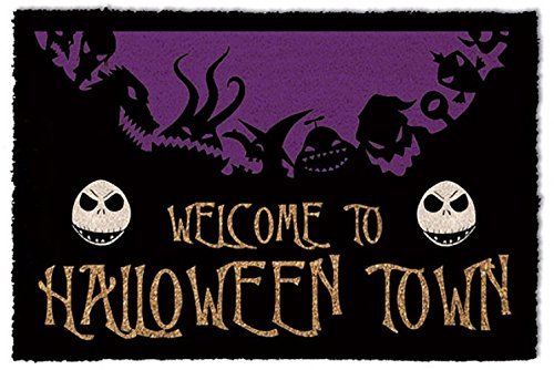 1art1 The Nightmare Before Christmas Door Mat Floor Mat - Halloween Town (24 x 16 inches)]()