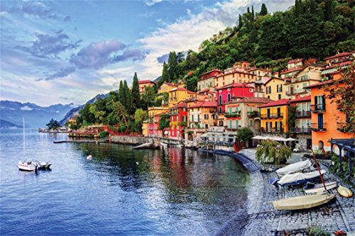 CSFOTO 8x6ft Background for Seaside City Photography Backdrop Colorful Building Sea Bay Boat Romantic Attractive Village Leisure Vacation Relax Resort Tourism Photo Studio Props Vinyl Wallpaper - Lombardia Five Light