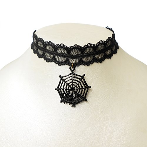 Black Spider Web Choker (RareLove Halloween Vintage Black Lace 20mm Choker Necklace with Spider Web Dangle Charm)