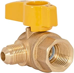 "Eastman 60032 Angle Flare Gas Ball Valve Pipe Inlet with Lever Handle, 1/2"" FIP x 3/8"" OD Tube, Brass"
