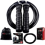 jump rope package - Speed Jump Rope - Adjustable Weighted Jumping Rope with Speed and Heavy Cables and Carry Pouch - Skipping Rope for Boxing Fitness Workout MMA Endurance Training - Men, Women and Children By FitFactor