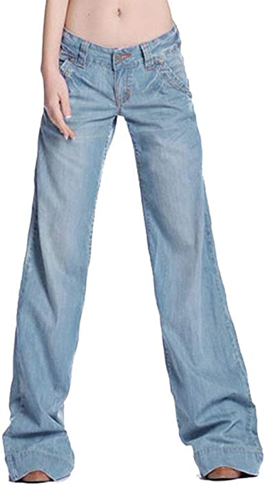 Pantalones Anchos De Pierna Ancha Para Mujer Pantalones Rectos De Sencillos Mezclilla Rectos Elegantes Y Rectos Sin Estirar Pantalones Casuales Estilo Amazon Es Ropa Y Accesorios