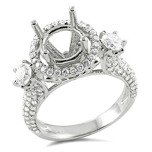 1.85 Carat (Ctw) 18K White Gold Round Diamond Semi Mount Round Diamond Engagement Bridal Ring (No Center Stone)