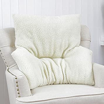 Lovely Armchair Fleece Back Rest Lumbar Support Aid Cushion Relieve Pain Beige  Deluxe: Amazon.co.uk: Kitchen U0026 Home