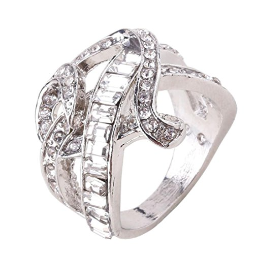 Price comparison product image Nmch Heart Silver Rings, Lady Natural Gemstones Ring Engagement White Sapphire Wedding Bride Jewelry (Silver,  9)