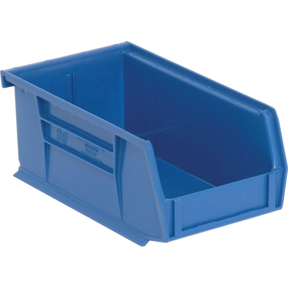 Edsal PB8501B High Density Stackable Plastic Bin, 4'' Width x 3'' Height x 7'' Depth, Blue (Pack of 24 )
