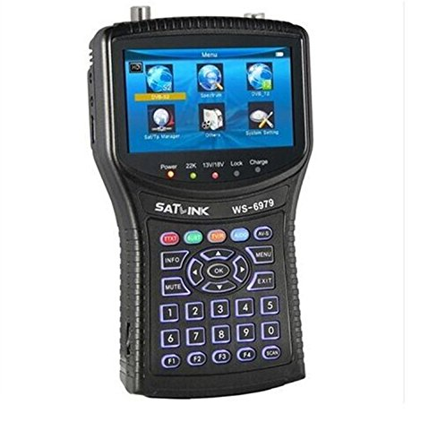 SATLINK WS-6979 DVB-S2&DVB-T2 HD Combo+Spectrum Satellite Finder QPSK,8PSK with MPEG-2/MPEG-4 4.3 Inch High Definition TFT LCD Screen