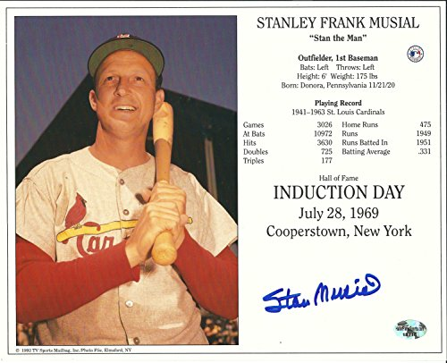 - Autographed Stan Musial 8X10 Hof Induction Day Card Photo