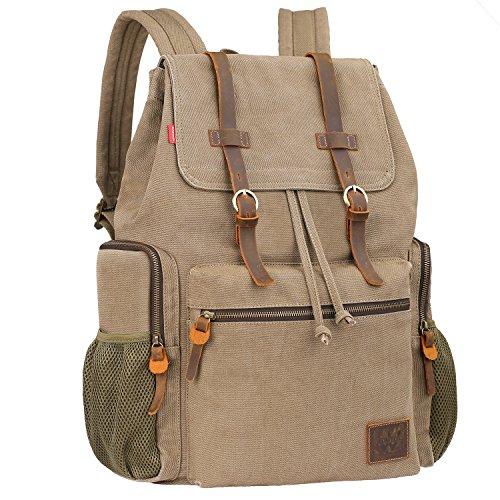 Vintage Canvas Laptop Backpack School College Rucksack Bag (Army green) - 3