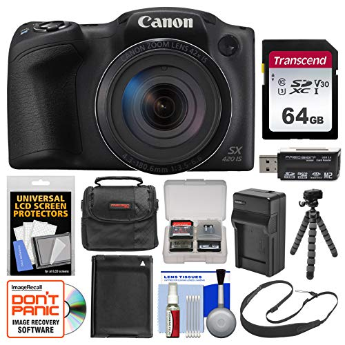 Canon PowerShot SX420 is Wi-Fi Digital Camera (Black) with 64GB Card + Case + Battery & Charger + Flex Tripod + Sling Strap + - 1 Camera Charger Battery Digital