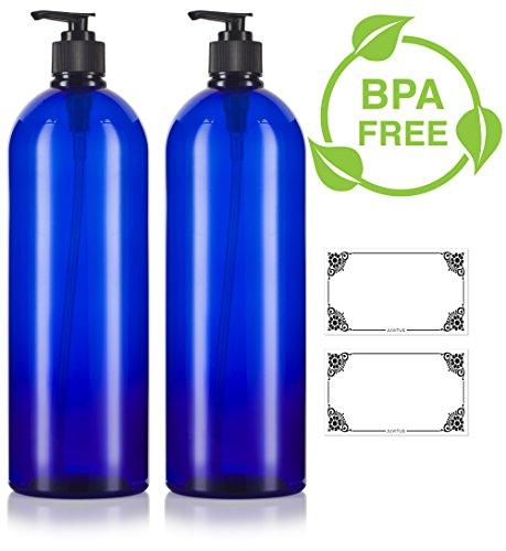 Cobalt Blue 32 oz Large Boston Round PET Bottles (BPA Free) with Black Lotion Pump (2 pack) + - Plastic Blue Bottles Cobalt