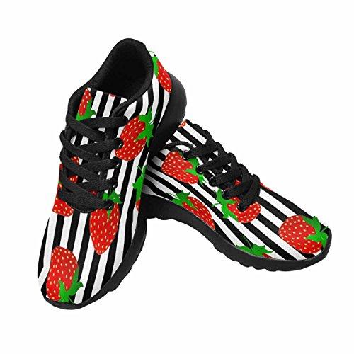 Interestprint Womens Jogging Running Sneaker Leggero Go Easy Walking Comfort Sportivo Scarpe Da Ginnastica Mature Fragole Succose Su Strisce Multi 1