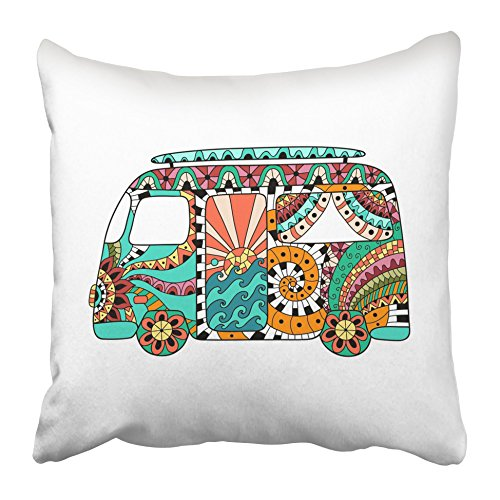 Emvency Throw Pillow Covers 16 x 16 Inches Hippie Vintage Car Mini Van in Zentangle Colorful Bus Hippy Color Retro 1960S 60S Pillow Case Decorative Cushion Cover Two Sides Print Pillowcase (Hippy Van)