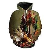 baihemiya Unisex Hoodie 3D Print Harvest Photograph The Sherpa Lined Fleece Sweatshirt Size 4XL