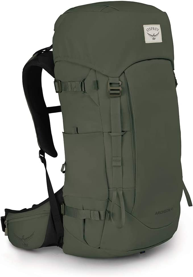 This is an image of a bulky backpacking bag in fatigue green color.