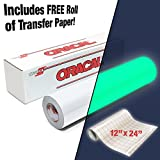 ORACAL 9300 Hi-Energy Glow in the Dark Luminescent Cast Vinyl 12'' x 24'' Roll for Silhouette, Cameo & Cricut Including 12'' x 24'' Roll of VViViD Clear Transfer Paper (1 Roll Pack)