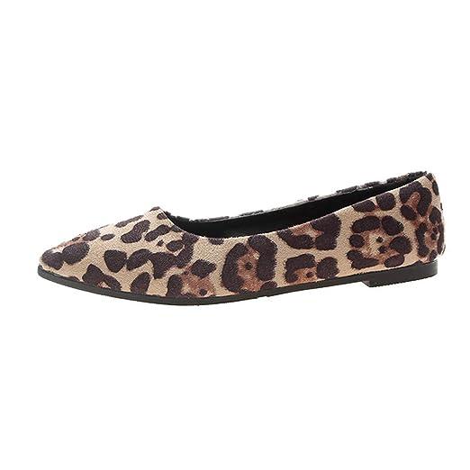 bafd495d4f762 Amazon.com: 👡 Women's Flock Leopard Print Shoes Shallow Single ...