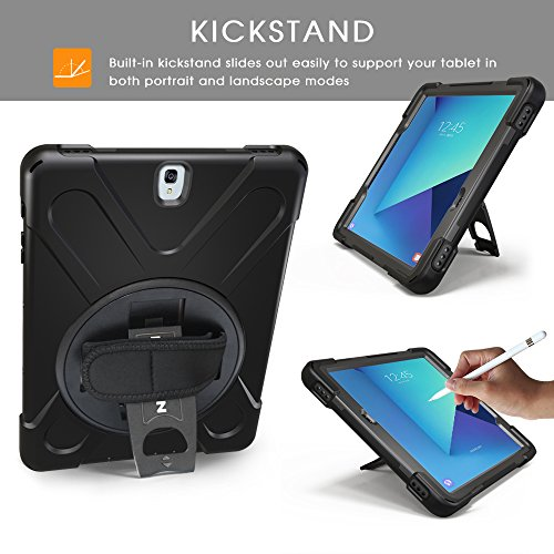 BRAECNstock Galaxy Tab S3 9.7 Case Cover Hybrid Protective Shield Case Cover w/Palm Hand Strap/Shoulder Strap/Kickstand for Samsung Galaxy Tab S3 9.7 T820 Case (Black/Black)