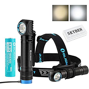 Olight H2R NOVA 2300 Lumens CREE XHP50 LED 18650 USB Rechargeable Flashlight / Headlamp For Outdoor Camping Hiking Running with SKYBEN Battery Case (H2R NW with Battery Case)