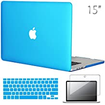 """Easygoby 3in1 Matte Frosted Silky-Smooth Soft-Touch Hard Shell Case Cover for Apple 15.4""""/ 15-inch MacBook Pro with Retina Display (Model: A1398)+ Keyboard Cover + Screen Protector - Aqua Blue"""