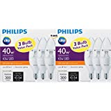 B11 (6 Pack) Philips Dimmable LED 4.5W = 40W Chandelier Candelabra Base Soft White (2700K) Energy Star