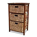 Heather Ann Creations 3-Drawer Bamboo Open Frame Cabinet, 30.5-Inch, Tan and Brown
