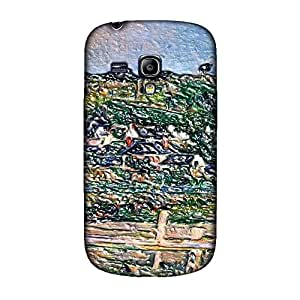 Cezanne - Village Behind The View Of Auvers-Sur-Oise The Fence, Embossed Caso Carcasa Funda de Duro Gel TPU Protección Case Cover, Diseño con Textura en Relieve para Samsung S3 i9300.