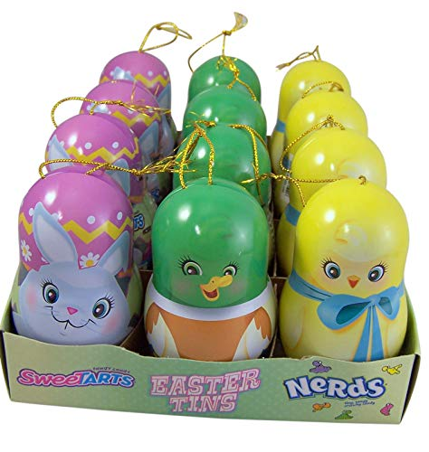 (Wonka Sweet Tarts and Nerds Filled Easter Candy Tin Ornaments, 0.4 Ounce, Pack of 12)