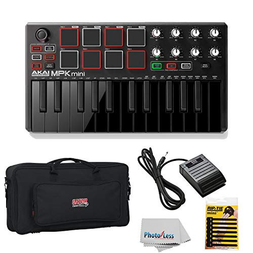 Akai Professional MPK MINI MK2 MKII | 25-Key Ultra-Portable USB MIDI Drum Pad & Keyboard Controller (Black) + Gator GK2110 Gig Bag + Sustain Pedal + Cable Ties + Clean Cloth
