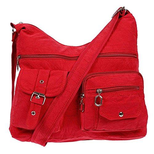 Christian Wippermann® - Bolso al hombro para mujer turquesa turquesa 38 x 26 x 11 cm rojo