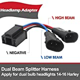 Belt&Road® Dual Beam Headlight Splitter Harness Adapter For Harley Road Glide Street Glide,H4 Splitter Harness for Dual Beam Headlights H4 to H9/H11