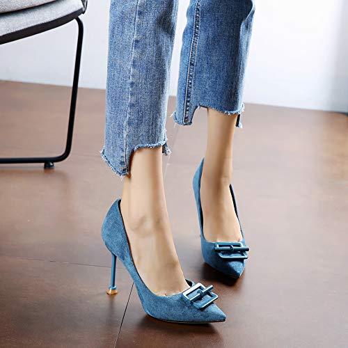 FLYRCX Frauen fein mit Spitzen Mode Arbeitsschuhe Metallschnalle sexy Temperament Temperament Temperament High Heels einzelne Schuhe ae099a