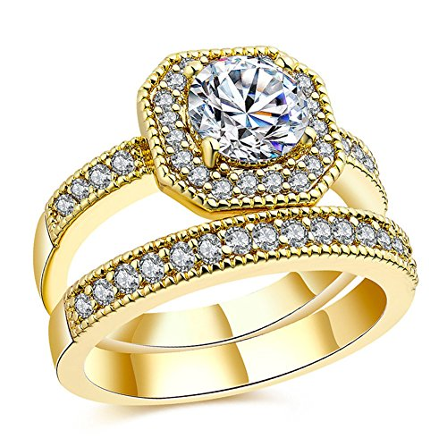 Gold Triple Channel - Youree Princess Gold AAA Cubic Zirconia CZ Halo Engagement Insert Ring Set For Women (SZZ-36-GOLD) (Size 8)