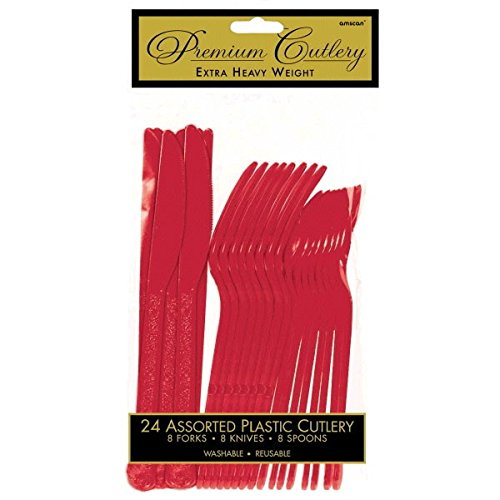 Amscan 8003.40 Premium Asorted Assorted Cutlery, One Size, Apple Red -