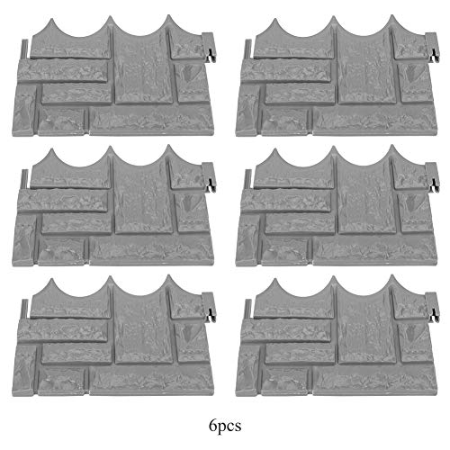 6Pcs Garden Simulated Brick Cement Fence Stone Mold Concrete Flower Courtyard Lawn Mould Maker for Garden Decoration