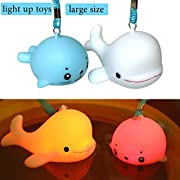 M.C.works Light Up Bath Toys, Large Size Pool Floating Colourful Flashing Light Show for Kids Fun Bathtime, Underwater Floats Bathing Funny Bathtub Toy, Waterproof Wearable, Cute Whale And Sea Lion