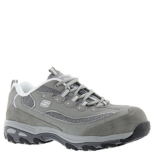 Skechers for Work Women's D'Lites Slip-Resistant Pooler Work Shoe Gray