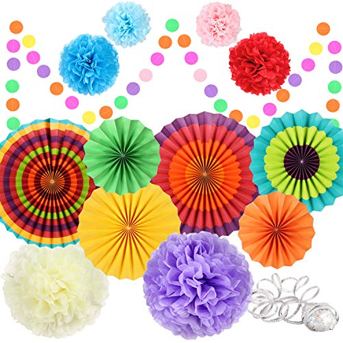 Fiesta Party Decorations Party Supplies Hanging Paper Fans Pom Poms Tissue Paper Flower for Birthday Party Wedding Festival Christmas Decoration, Mexican Cinco De Mayo Decorations - Colorful -